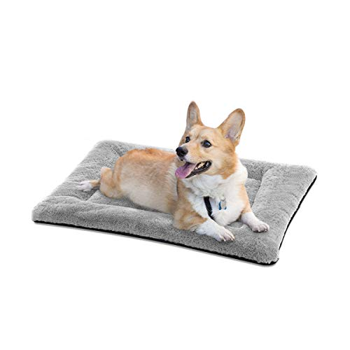 SIWA MARY Dog Bed Mat Soft Crate Pad Washable Anti-Slip Mattress for Large Medium Small Dogs and Cats Kennel Pad (30inch,Grey)