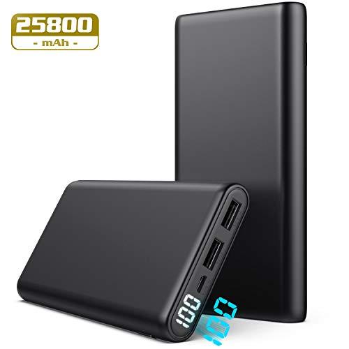Pxwaxpy Powerbank, Externer Akku 25800mAh 【Neu Kompakt LCD Digitalanzeige】 Hohe Kapazität Akkupack mit 2 Output USB Schnellladung Externes Ladegerät für Handy, Tablet- Dunkelgrau