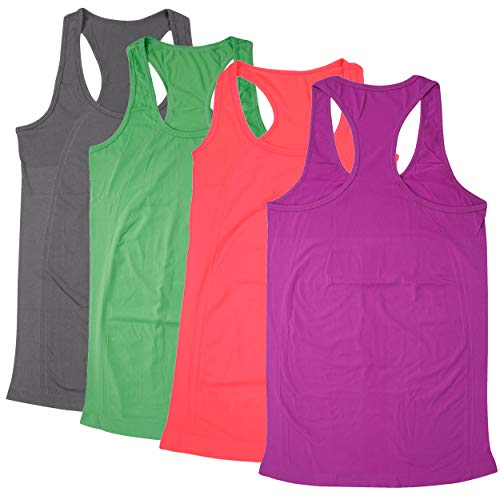 BollyQueena Womens Yoga Tops Sports Workout Tank Racerback Activewear Nylon Exercise Shirts Clothes Cycling Top 4 Packs Multicoloured L