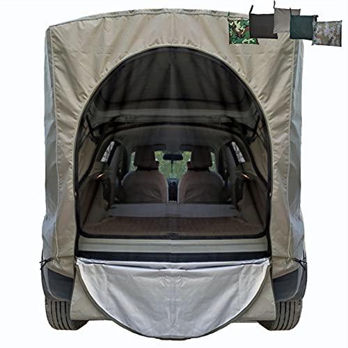 Tienda campaña familiar automóvil SUV, maletero vehículo Tienda campaña al aire libre Toldo impermeable y prueba lluvia Refugio para el sol, sombrilla barbacoa y conducción autónoma