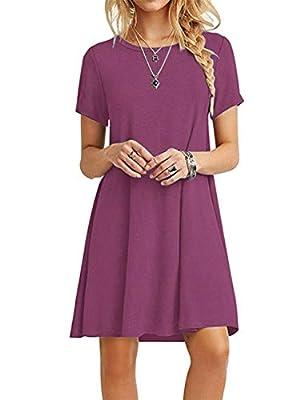 MOLERANI Women's Summer Casual T Shirt Dresses Short Sleeve Swing Dress Mauve M