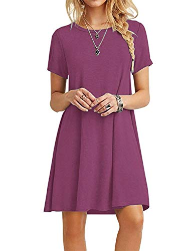 MOLERANI Women Summer Casual T Shirt Dresses Beach Cover up Plain Pleated Dress Mauve S