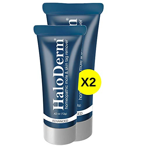 HaloDerm Advanced Skin Tag Remover & Mole Remover - Natural Skin Tag Cream - Remove up to 3 Skin Tags (FAST Results In As Little As 3-5 Days) - Industry Leading Safe & Effective Formula (2 Pack)