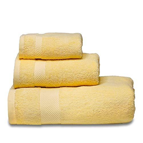 Xiaobing Juegos de Toallas Suaves de algodón, Toallas de baño, Toallas de Mano secas, Toallas de baño de Alta absorción -Yellow-B7