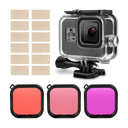 Kupton Filtro per lenti per filtri GoPro Hero 8 Accessori per la correzione del colore per immersioni Confezione da 3 (rosso, rosso chiaro, magenta) - Adatto solo alla custodia Kupton per GoPro Hero8