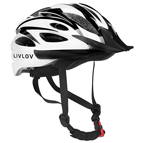 LIVLOV Casco Bici Casco da Bicicletta 56-62 cm, Certificato CE, Corpo in EPS + Guscio PC, Robusto e Ultraleggero, con Visiera Staccabile, Casco da Ciclismo Regolabile (Bianco-nero)