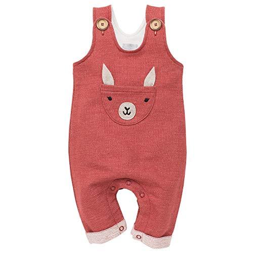 Pinokio - Happy Llama - Overall Baby Mädchen/Jungen - 100% Baumwolle - Latzhose mit Knöpfen Unisex | Ziegelrot Rot | 62,68,74,80,86 (68 cm, Ziegelrot)
