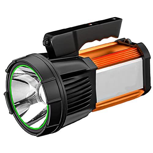 Antorcha, como LED Lightlight, Recargable súper Luminoso con luz Lateral, luz de Camping portátil de Mano, Foco Impermeable, para Senderismo, Pesca, Camping