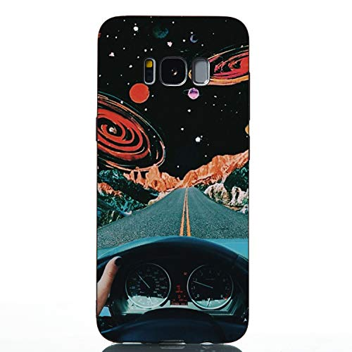 Ultra Dünn Slim Weich TPU für Samsung S8,Kreative Durchsichtiges Klar Transparent Flexible 3D Flower Cartoon Gel Gomma Sparkle Bling Glitter Silikon Handy Hülle Etui Bumper