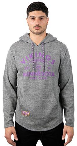 Ultra Game NFL Minnesota Vikings Men's Fleece Hoodie Pullover Sweatshirt Vintage Logo, X-Large, Gray, Gray Snow, Model:JLM2832F