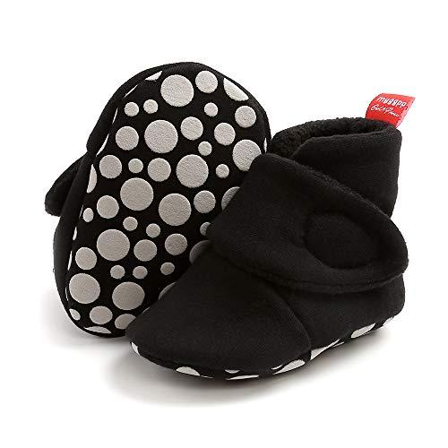 Aisprts Botas de bebé suaves antideslizantes suela zapatillas para bebés niños niñas invierno cálido acogedor primer caminar zapatos para cuna de 0 a 18 meses, A negro, 6-12 meses
