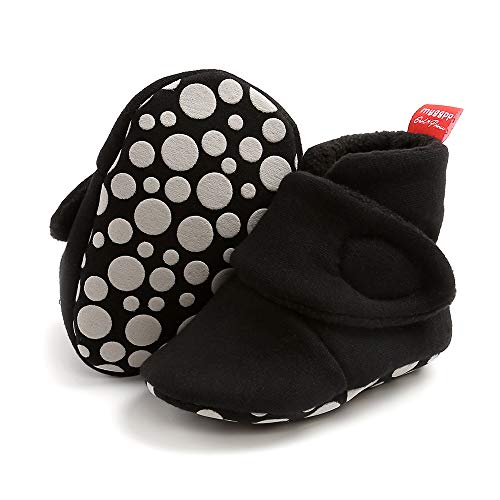 Aisprts Botas de bebé, de invierno, suaves, cálidas, de forro polar, para bebés de 0 a 6 meses, color Negro, talla 6-12 meses