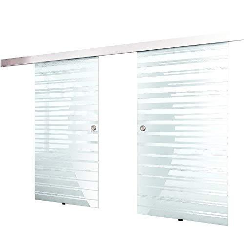 Home Deluxe – Doppelglasschiebetür- Streifendesign und Muschelgriff – Maße: 2 x 90 cm - Verschiedene Größen