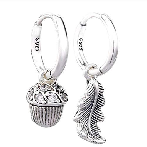 Zuyau Pendientes de Hoja de Bellota con aretes de Plata esterlina 925 con Cristal para Mujer Joyería de Regalo de Boda