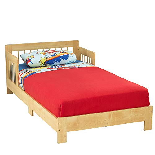 KidKraft Wooden Toddler Bed with Side Rails and Spindle Headboard - Natural, Gift for Ages 15 mo+