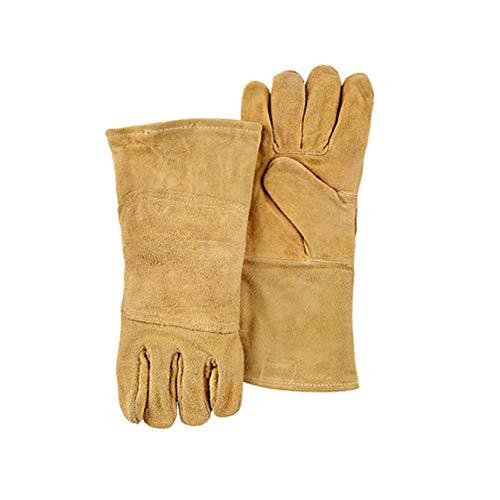 YFINE extreme hitte- en brandwerende handschoenen leer, perfect voor open haard, kachel, Oven, Grill, Welding, BBQ, Mig, Pot Holder, Animal Handling.