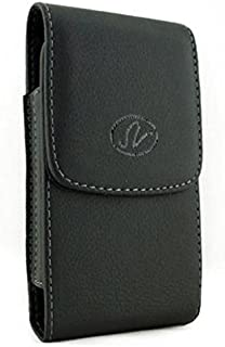Black Vertical Leather Phone Case Cover Pouch Holder Holster Belt Clip for T-Mobile Samsung Galaxy Note Edge (SM-N915T) - Tracfone ZTE Quartz