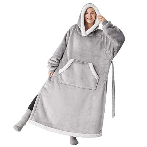 Bedsure Blanket Hoodie Women Men - Long-Length Wearable Hooded Blanket...