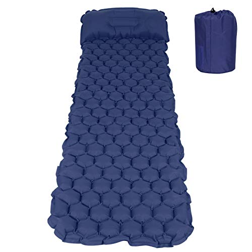 N#A Colchoneta para Dormir, colchón Inflable, artículo Inflable para Viajar, IR de excursión, Hacer Excursionismo, Acampar(Navy Blue)