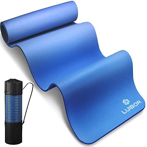 Luibor Colchoneta de yoga ,de ejercicio y ejercicio de 10mm de grosor antideslizante con bolsa de transporte, colchoneta de entrenamiento de calidad fácil de usar (Blue)
