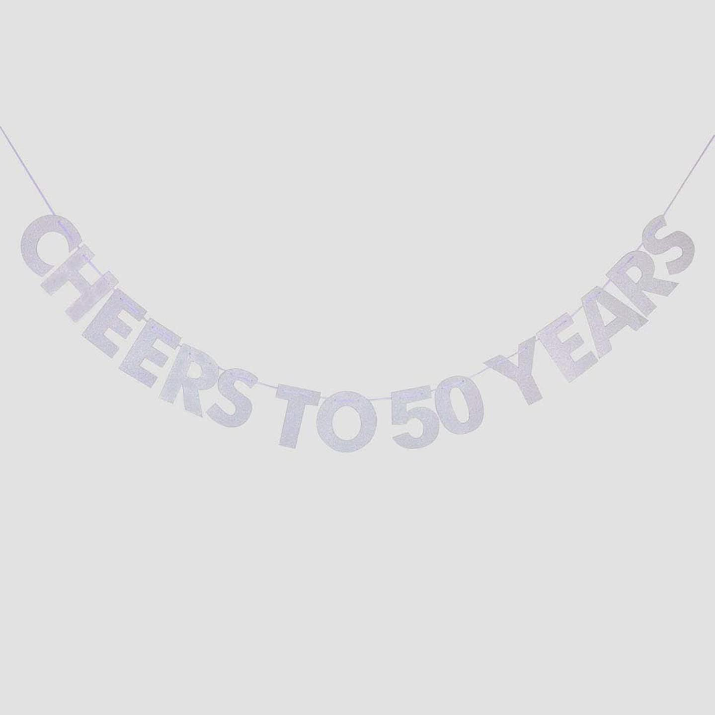 Cheers to 50 Years Banner, 50th Birthday, Wedding Anniversary, Retirement Party Bunting Sign Decorations Photo Props, Party Favors, Supplies, Gifts, Themes and Ideas