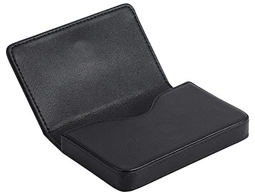 MaxGear Business Card Holder Leather Pocket Business Card Case Professional Portable Business Cards Wallets with Magnetic Shut for Men and Women, RFID-Blocking, Black
