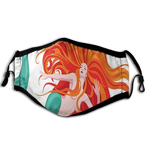 Máscara cómoda a prueba de viento, ilustración de sirena de pelo rojo, temática romántica fantasía, decoración facial impresa para adultos unisex