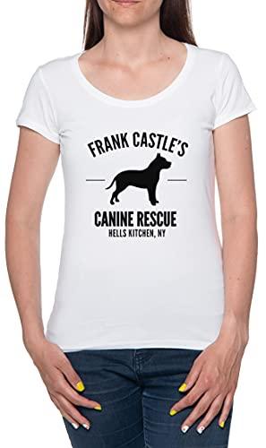 Canine Rescue Frank Castle's Camiseta De Las Mujeres Manga Corta Blanco T-Shirt Women White tee L