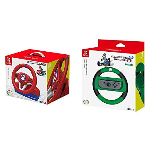 Hori Nintendo Switch Mario Kart Racing Wheel Pro Mini By - Officially Licensed - Nintendo Switch & Nintendo Switch Mario Kart 8 Deluxe Wheel (Luigi Version) Officially Licensed - Nintendo Switch