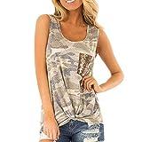 DOGZI Camisetas Mujer sin Mangas - Camuflaje de Bolsillo Camiseta Chaleco Tank Verano Casual Tops