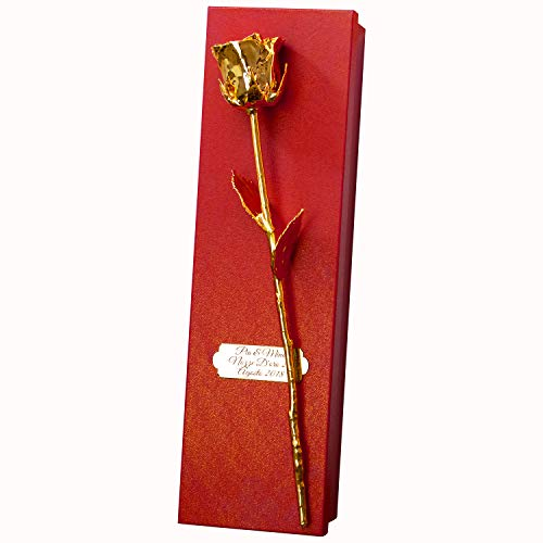 Geschenke 24: Goldene Rose 36 cm - rote Geschenkbox mit Gravur - vergoldete Rose mit Personalisierung - Romantisches Liebesgeschenk