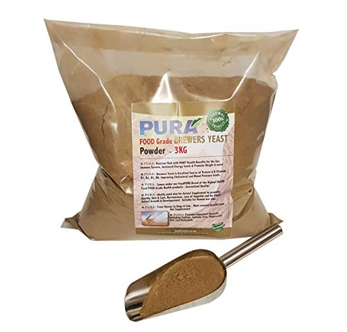FoodPURA Brewers Yeast Powder 3KG - use with Horses, Ponies Vitamin B, E & H for Pets and Animals - For Healthy Skin and Coats - also Human FOOD Grade!