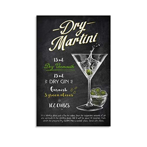 NQSB Póster de Drinks Dry Martini Cuadro decorativo Lienzo decorativo para pared para sala de estar, dormitorio, 30 x 45 cm