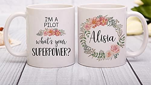 Juego de tazas para parejas, I'm A Pilot What Your Superpower, taza de piloto, regalo para piloto, regalo para piloto, taza de café piloto, regalo para piloto, regalo para piloto femenino, 11 onzas