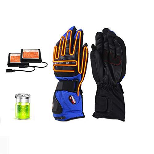 NCBH Guantes Calefactores Eléctricos con Batería Recargable Guantes Impermeables con Pantalla Táctil y 3-Modos de Calefacción Hombre Mujer Invierno Guantes Moto Calefactables,Azul,XL