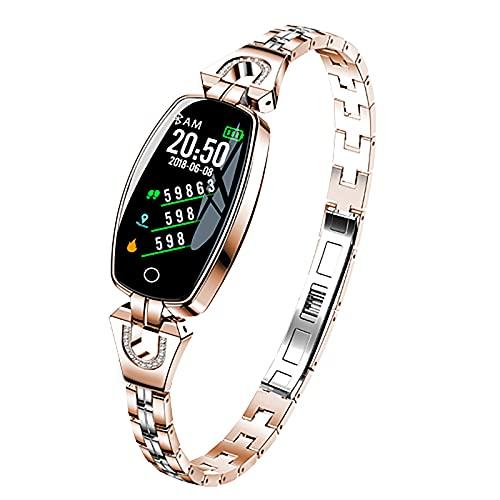 ZGZYL Damas Moda Smart Watch 0.96 Pulgadas OLED Presión Arterial Monitor Monitor De Ritmo Cardíaco Monitor De Cronómetro Podómetro Fitness Tracker Girl Smartwatch para iOS Android,A