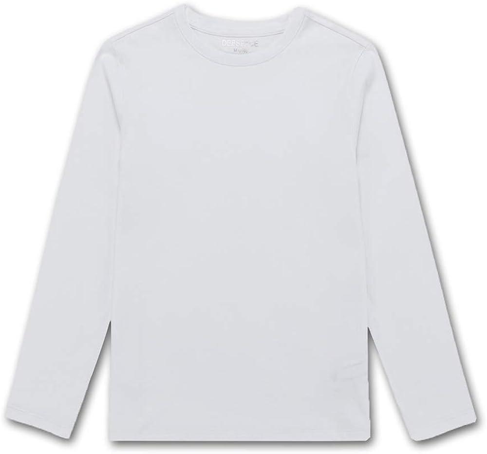 DEESPACE Kids Long Sleeve T Shirts Cotton Shirts Soft Crewneck T-Shirt for Boys or Girls 3-12 Years