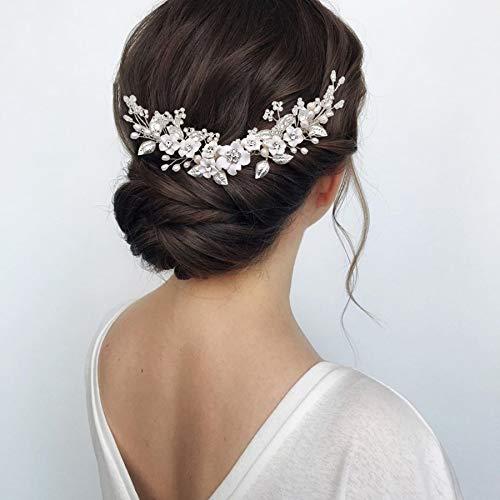 tocados boda,flores pelo,tocados pelo,adornos pelo,peinetas pelo,Flor novia boda peine para el cabello...
