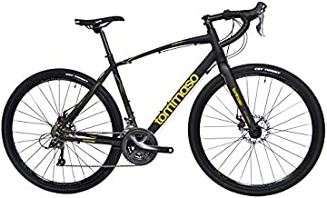 Tommaso Sterrata Shimano Claris R2000 Gravel Adventure Bike with Disc Brakes, Extra Wide Tires, and Carbon Fork Perfect for Road Or Dirt Trail Touring, Matte Black - Medum
