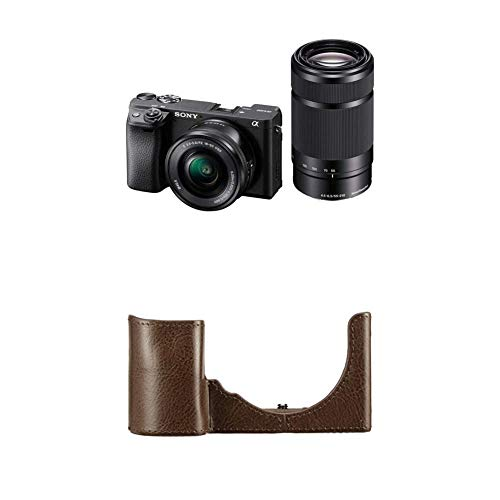 ソニー ミラーレス一眼 α6400 ダブルズームレンズキット SELP1650 F3.5-5.6+SEL55210 F4.5-6.3 SEL55210 ブラック ILCE-6400Y Bソニー 一眼カメラケース ボディケース ブラウン LCS-EBE T