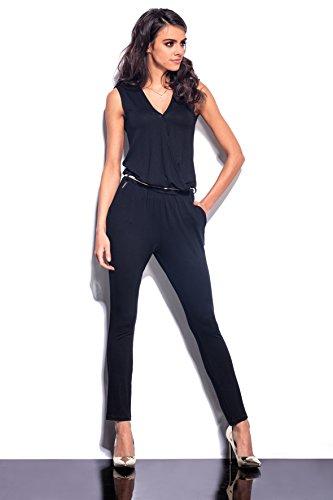 Lemoniade eleganter Jumpsuit ohne Ärmel mit verführerischem V-Ausschnitt in Wickeloptik, schwarz - 4