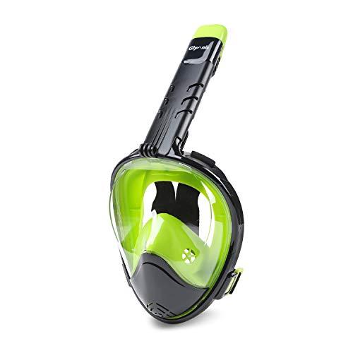 Glymnis Máscara de Buceo 180° Máscara Snorkel Anti-Fuga Gafas Cara Completa con Agente Antivaho Apoyo Camara Deportiva (Negro y Verde, S M)