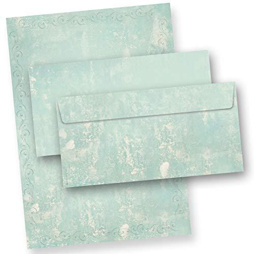 Briefpapier Set Türkis Grün marmoriert (25 Sets) Vintage A4 297 x 210 mm 90 g/qm mit Umschläge