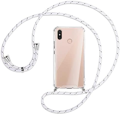 mtb more energy® Handykette kompatibel mit Xiaomi Mi Max 3 (6.9'') - weiß+grau gestreift - Smartphone Hülle zum Umhängen - Anti Shock Strong TPU Hülle