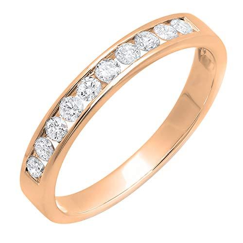 Dazzlingrock Collection 0.40 Carat (ctw) 18K Round Lab Grown Diamond Ladies Anniversary Wedding Stackable Ring Band, Rose Gold, Size 7