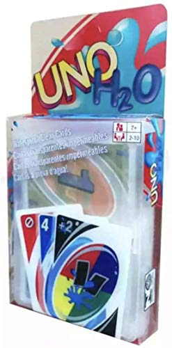 UNO H2O Card Game - PVC Perfect Family Playing Card Game,Waterproof Clear,Interesting and Fun (Blue)