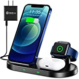 WAITIEE Wireless Charger 3 in 1 Stand for iPhone 12 and iWatch Series 6/5/4/3/2/1 AirPods pro, QI Charger 15W Fast Charging Dock Accessories iPhone 12/11/11 Pro/ 11 Pro Max/XS/XR/X/8/8 Plus/Samsung