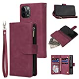 RANYOK Wallet Case Compatible with iPhone 12/12 Pro (6.1 inch), Premium PU Leather Zipper Flip Folio Wallet with Wrist...