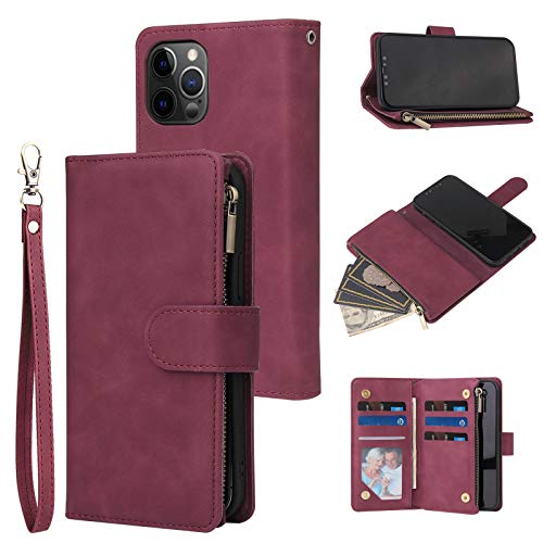 RANYOK Wallet Case Compatible with iPhone 12/12 Pro (6.1 inch), Premium PU Leather Zipper Flip Folio Wallet with Wrist Strap Magnetic Closure Built-in Kickstand Protective Case - Wine Red