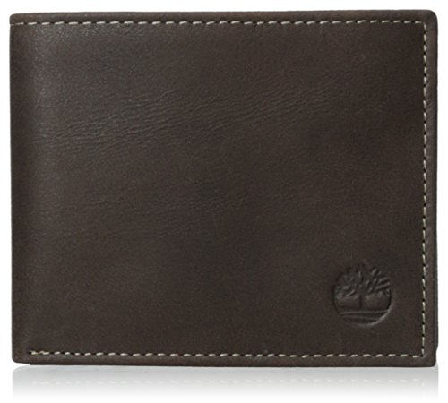 Timberland Men's Leather Wallet with Attached Flip Pocket, Brown (Cloudy), One Size
